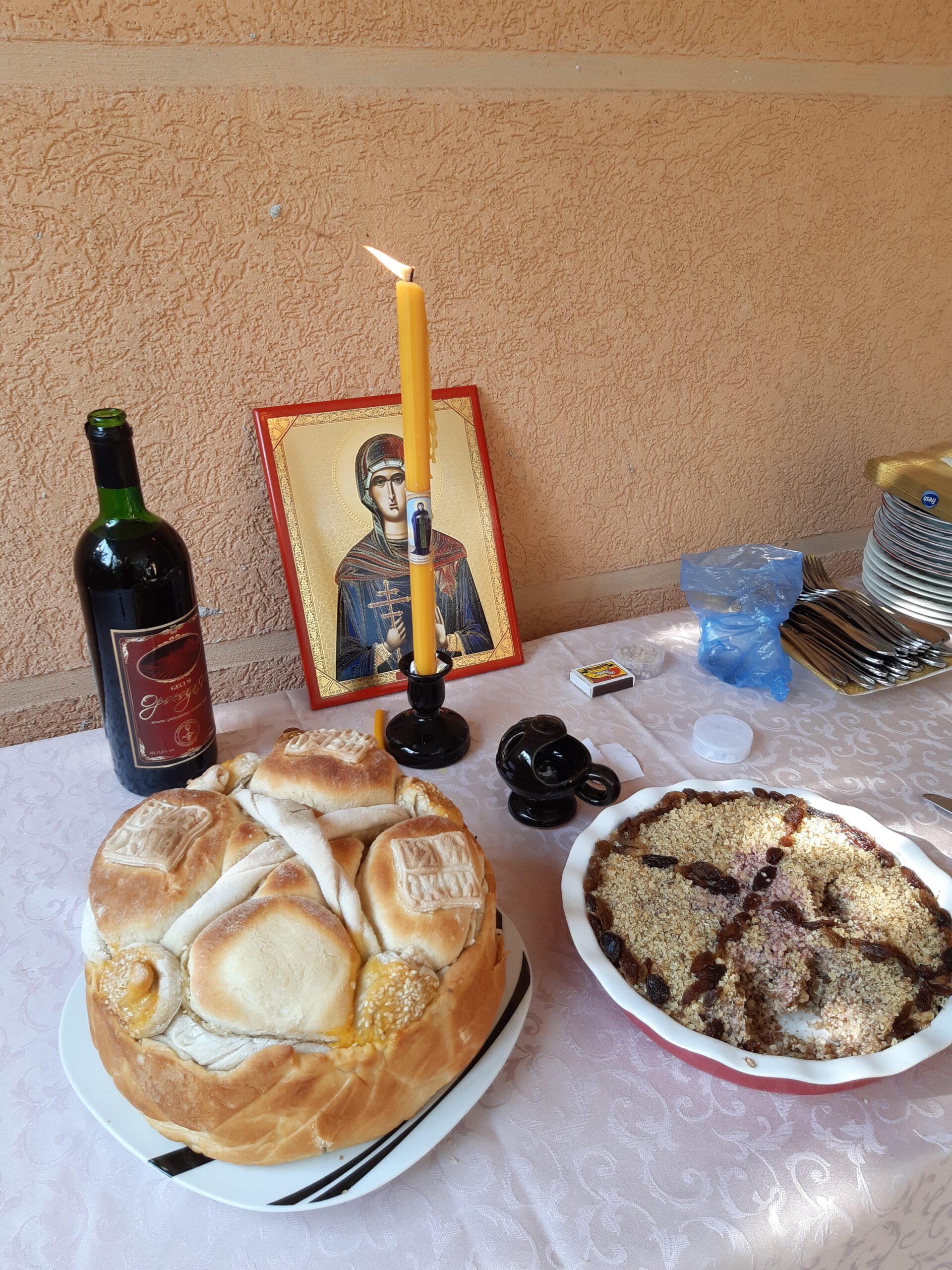 slavski kolač, žito, vino, sveća, akademska srpska asocijacija